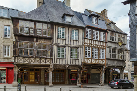 dinan: street with half-timbered houses in Dinan city center,  Brittany, France