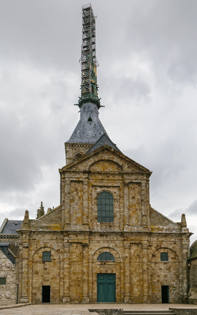 Classic facade of the church-abbey Saint-Michel, France