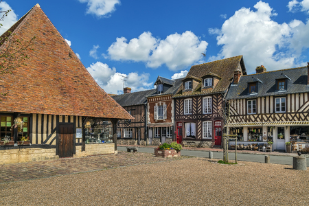historical half-timbered houses in Beuvron-en-Auge, France