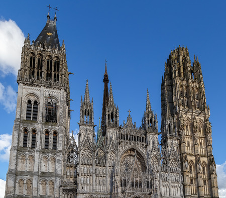 Rouen Cathedral is a Roman Catholic Gothic cathedral in Rouen, Normandy, France. Main facade