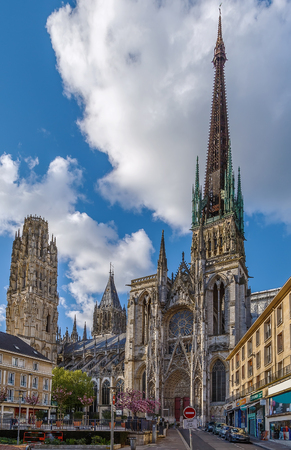 Rouen Cathedral is a Roman Catholic Gothic cathedral in Rouen, Normandy, France Stok Fotoğraf