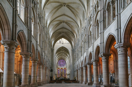 Laon Cathedral is one of the most important examples of the Gothic architecture of the 12th and 13th centuries located in Laon, Picardy, France.Interior - main nave