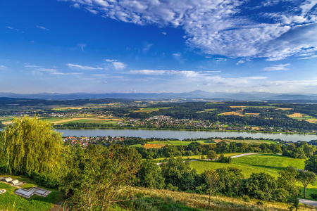 view of the Danube River Valley near Melk, Austria
