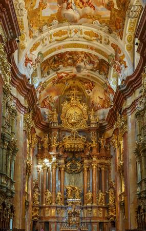 high altar: The high point of the baroque Melk abbey is the church, Austria. Interior. Altar Editorial