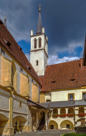 benedictine: Goss Abbey is a former Benedictine nunnery in Leoben, Styria, Austria. Courtyard Stock Photo