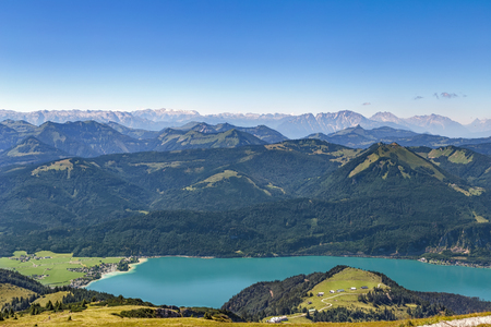 View of Alps mountain with Wolfgangsee lake from Schafberg mountain, Austria