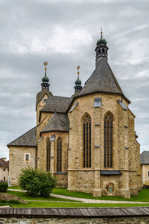 seemingly: Maria Saal is famous for its large pilgrimage church in seemingly transitional style from Romanesque to Gothic, Austria.