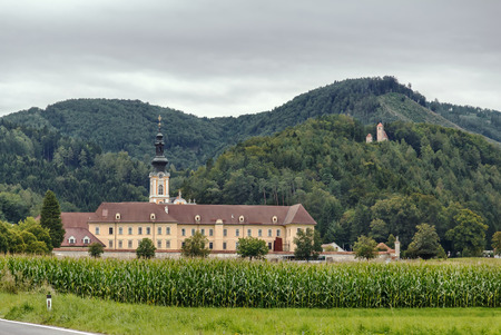 View of Rein Abbey is a Cistercian monastery in Styria, in Austria. It is the oldest surviving Cistercian community in the world Stock Photo