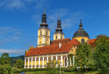 The Baroque Mariatrost Basilica on top of the Purberg hill in Mariatrost, a district of Graz, is one of the most famous pilgrimage sites of Styria in Austria Stock Photo