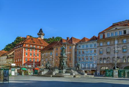View of main square in Graz historic center, Austria