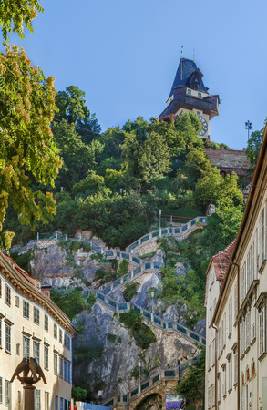 staircase to the Castle mountain with clock tower, Graz, Austria