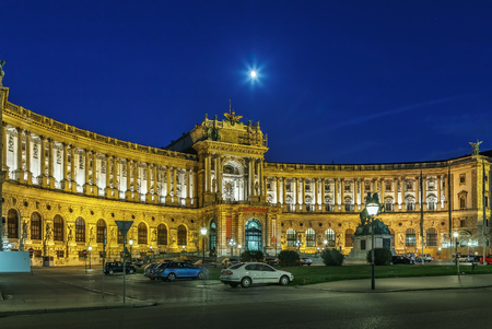 Neue Burg (New Castle) of Hofburg Palace was completed in 1913, Vienna, Austria. Evening Editorial