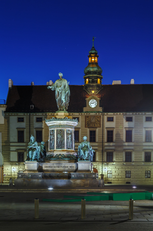 Monument To Emperor Franz 1 in front of Amalienburg in Hofburg Palace, Vienna, Austria. Evening