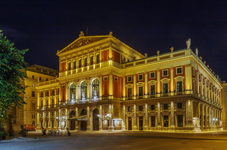 The Wiener Musikverein is a concert hall in the Innere Stadt borough of Vienna, Austria. It is the home to the Vienna Philharmonic orchestra. Evening