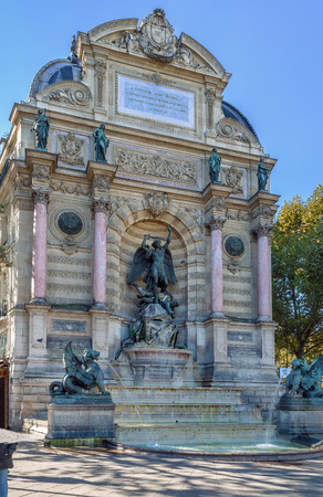 Fountain Saint-Michel is a monumental fountain located in Place Saint-Michel in Paris. It was constructed in 1858–1860 by the architect Gabriel Davioud.