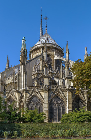 buttresses: Notre-Dame de Paris is a medieval Catholic cathedral in Paris. View east side of the cathedral