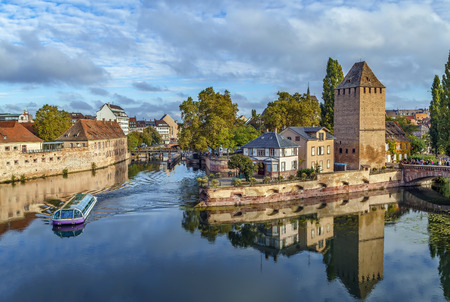 View of  medieval bridge Ponts Couverts from the Barrage Vauban in Strasbourg, France Stock Photo