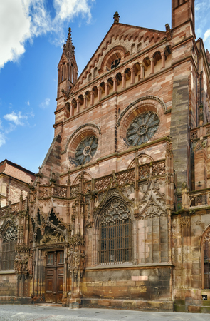 Strasbourg Cathedral also known as Strasbourg Minster, is a Gothic Roman Catholic cathedral in Strasbourg, Alsace, France. North portal Stock Photo