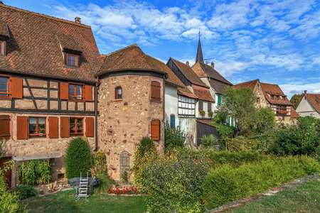 touristy: Houses on the site of the city historic fortifications in Bergheim, Alsace, France