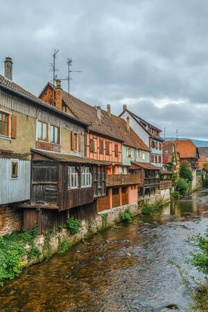 weiss: View of Weiss river with historical houses in Kaysersberg, Alsace, France
