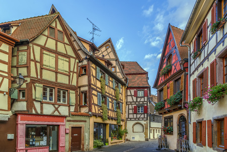 Historical street in Colmar city center, Alsace, France