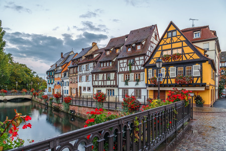 Embankment of  Lauch River with historical houses in Colmar, Alsace, France