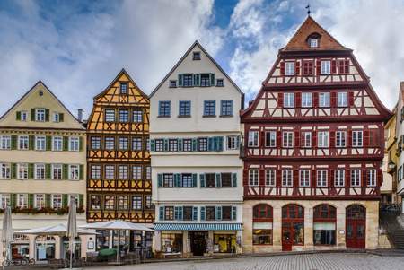 Historical houses on square in Tubingen city center, Germany