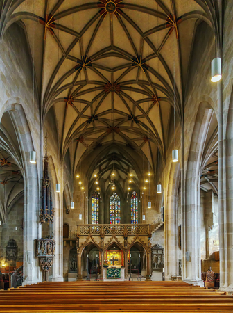 St. George Collegiate Church is a church located in Tubingen, Baden-Württemberg, Germany. It is a late gothic structure built by Peter von Koblenz in 1470. Interior