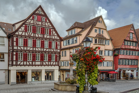 Square with fountain in front of cathedral, Tubingen, Germany