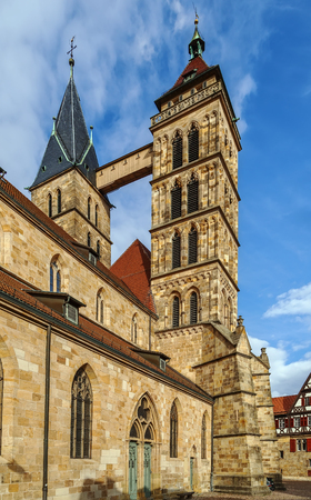 parish: Parish Church of St. Dionysius,  Esslingen am Neckar, Germany. The basilica with its three naves and high choir was built between 1220 an about 1315.
