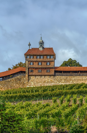 former years: The Esslingen Burg (Castle) has towered above the town for over 700 years. It was always part of the former town fortifications. Germany. Hochwacht (High Watch Tower)