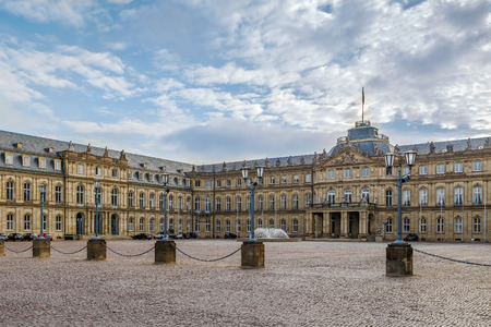 The New Palace is one of the last large city palaces to be built in Southern Germany, is the magnificent 18th Century Baroque residence of the Kings of Wurttemberg, Stuttgart, Germany