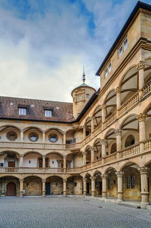 Courtyard of the Old Castle decorated with arcades, Stuttgart, Germany