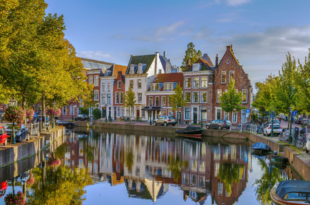 Cityscape of Leiden with channel in city center, Netherlands