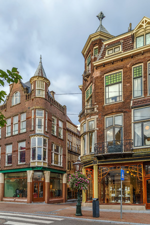 Street with houses in Art Nouveau style in Leiden downtown, Netherlands