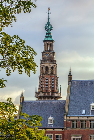 Tower of the city hall of the city of Leiden, Netherlands