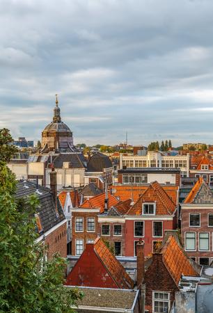 View of Leiden with Marekerk church from Burcht van Leiden hill, Netherlands Lizenzfreie Bilder