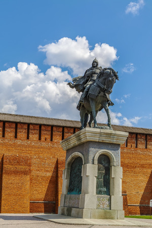 Monument to Dmitry Donskoy in front of Marinkina tower in Kolomna Kremlin, Russia