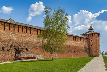 View of Kolomna Kremlin wall and tower, Russia