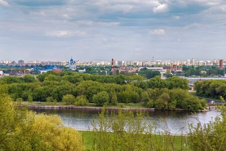 View of Moscow from the high bank of the Moscow River in Kolomenskoye, Russia