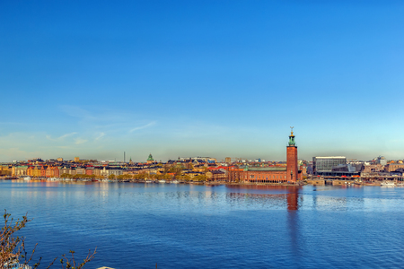 view of the City Hall of Stockholm from the Sodermalm island, Sweden