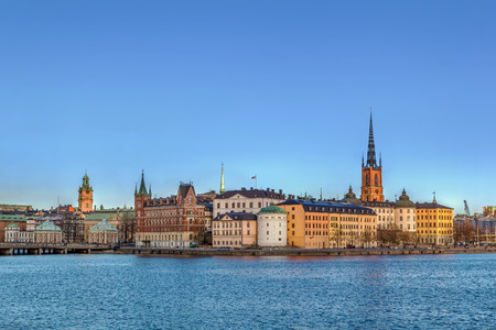view of Riddarholmen from City Hall in Stockholm, Sweden