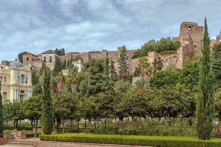 view of Alcazaba in Malaga, Spain. Alcazaba is a palatial fortification in Malaga