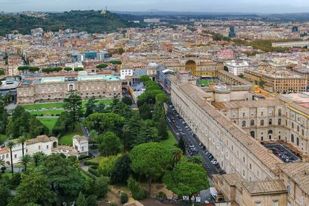 View of Vatican from the Dome of St. Peters Basilica Stock Photo