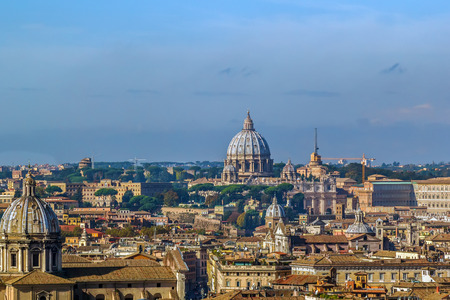view of Rome with St. Peters Basilica from Monument to Victor Emmanuel II, Rome