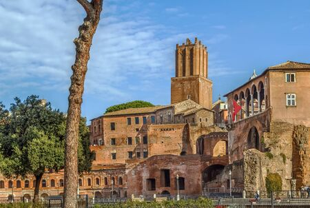 Trajans Market is a large complex of ruins in the city of Rome, Italy,