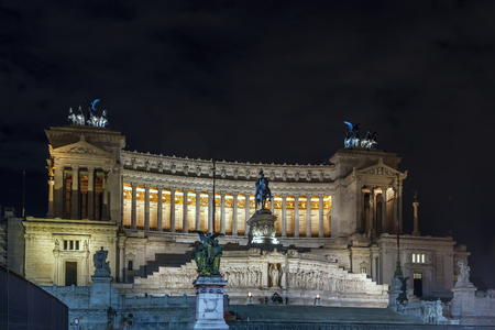 The Altare della Patria also known as National Monument to Victor Emmanuel II is a monument built in honour of Victor Emmanuel, the first king of a unified Italy. Evening