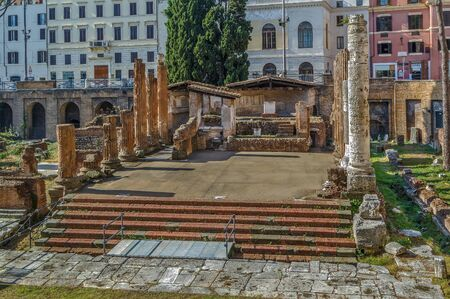 Largo di Torre Argentina is a square in Rome, Italy, that hosts four Republican Roman temples, and the remains of Pompeys Theatre. It is located in the ancient Campus Martius