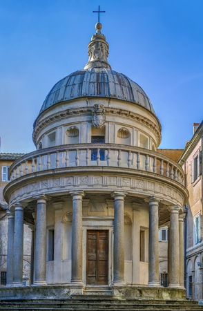 The so-called Tempietto is a small commemorative tomb (martyrium) built by Donato Bramante, possibly as early as 1502, in the courtyard of San Pietro in Montorio.
