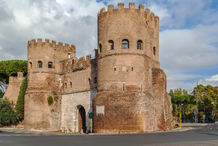The Porta San Paolo is one of the southern gates in the 3rd-century Aurelian Walls of Rome, Italy.